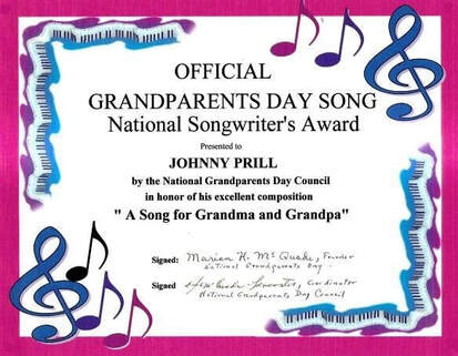 Johnny Prill received the National Songwriter's Award from the National Grandparents Day Council in honor of his composition